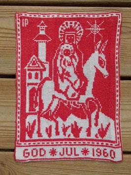 Boderade i korsstygn,  jultavla 1960 / クロスステッチクリスマスタペストリー 1960