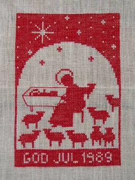 Boderade i korsstygn,  jultavla 1989 / クロスステッチクリスマスタペストリー 1989