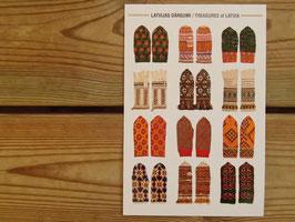 latvieši pastkartes cimdi/ ラトビアのポストカード ミトン柄