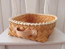 Näverlåda m. läderhandtag(L-a) / レザーハンドル付トレイ(L-a)