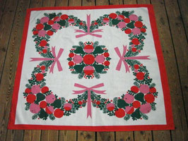 Julduk krans m. rosett / クリスマスのテーブルクロス 飾りとリボン