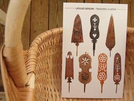 latvieši pastkartes Sprēslīcas / ラトビアのポストカード 糸巻き柄