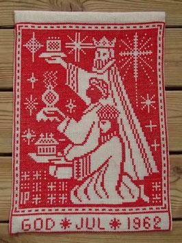 Boderade i korsstygn,  jultavla 1962 / クロスステッチクリスマスタペストリー 1962
