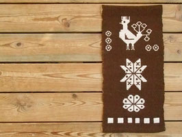 Finnväv fågel, snöflinga och blomma / フィン織り 鳥、雪の結晶、花