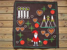 Brun tavla med jultomten / サンタの刺繍タペストリー