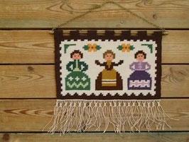"""bildväv """"Tant Grön, Tant Brun och Tant Gredelin"""" / 絵織物 緑、茶色と紫のおばさん"""