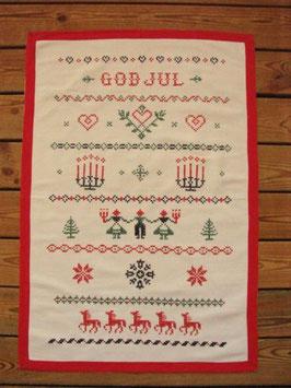 """Julvepa korsstygn """"GOD JUL"""" / クロスステッチ壁掛 メリークリスマス"""