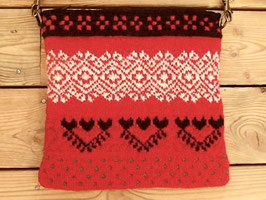 Stickade väska med stickmönster från Hälsingland (A) / ヘルシングランド地方模様のニットポシェット