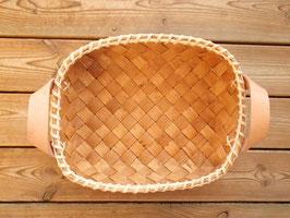 Näverkorg m. läderhandtag(S-a) / レザー持手付トレイ(S-a)