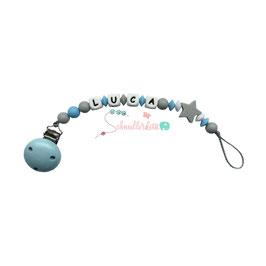Silikonschnullerkette hellblau/hellgrau/weiß