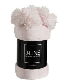 J-LINE Decke Plaid helles rosa mit Pompom großer Troddel