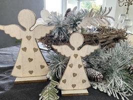 a little more Engel Holz creme/weiss gold Set 2 Stk. Deko Weihnachten natürlich