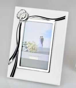 Bilderrahmen Fotorahmen Hochzeit weiß mit Eheringen silber Fotorahmen-Hochzeitsfoto
