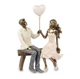 Formano Paar auf Bank mit Herzballon antik gold Geschenk Hochzeit