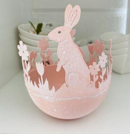 Metall-Schale/Topf rose´ mit Hasen und Blumen Osterdeko