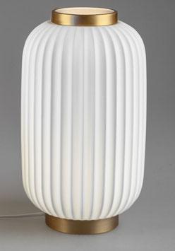 Formano Lampe Tischlampe Leuchte LATERNE weiß gold mit Rillen in 2 Größen