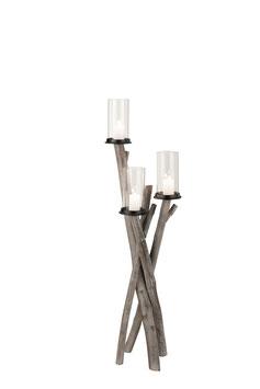 J-LINE Kerzenständer Holz Zweige  groß grau Holz Grey Wash 1801