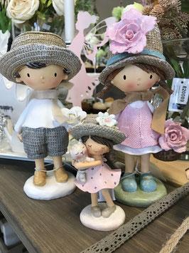 Mädchen/Junge 16 cm mit Hut/Blumen
