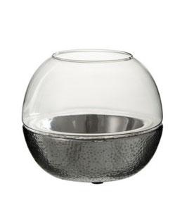 J-LINE Windlicht Kugel Keramik /Glas silber
