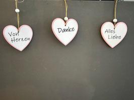 Geschenkanhänger Holz Herz weiss rosa von Herzen Danke Alles Liebe 3er Set