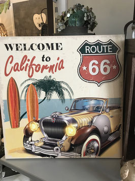 Retro Welcome to California Route 66 ca. 40x40cm