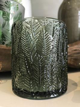 Windlicht / Teelichtglas Jungle grün/Blätter