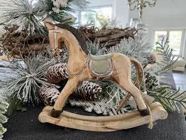 Schaukelpferd natürliche Weihnachts-Deko Holz