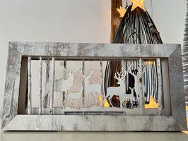 Formano Holz-Bild-Weihnachten-Deko-Idee  Hirsche im Wald beleuchtet