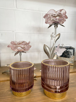 Formano Kerzenhalter Teelichthalter edel Glas mit goldenem Fuß 2er Set