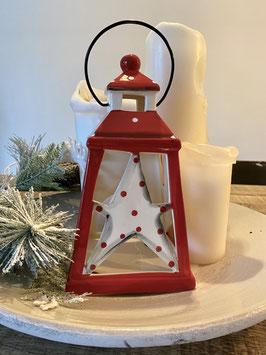 Formano Windlicht Laterne Weihnachten Keramik rot/weiss