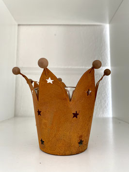 Windlicht Kerzenhalter Krone Stumpenkerze oder Teelichthalter Deko Haus Garten
