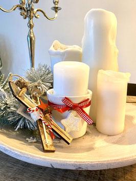Keramik Übertopf / Kerzenhalter Weihnachten weiss mit roter Schleife und Stern-Hänger