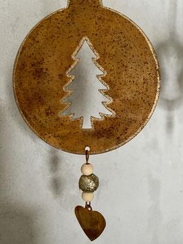 Deko-Rost-Metall Weihnachten Baumschmuck Kugel flach Engel Baum