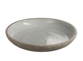 J-LINE Töpferschale rund Keramik grau groß