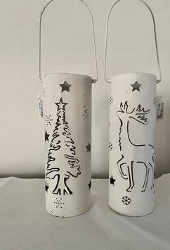 a little more Laterne Metall weiss mit Weihnachtsbaum und Elch Set.