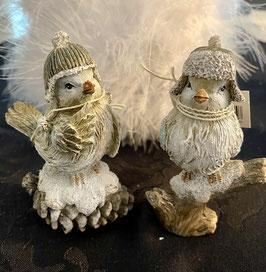 Formano Wintervogel mit Mütze auf Zapfen/auf Ast Set. 2 Stk.