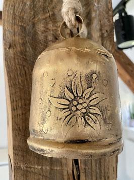 Formano Glocke Deko-Weinachten-Idee Antik/Gold hängend mit Edelweiß Motiv Kuhglocke