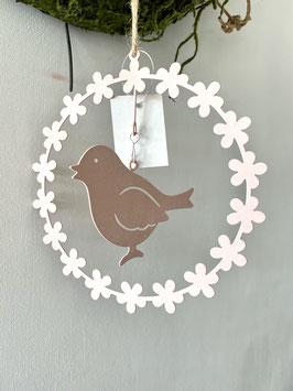 Blumenkranz Hänger Metall mit Blüten und Vogel zartes rose´Frühling Deko