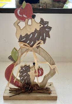 Formano Holz-Deko Herbst Igel auf Apfel oder Eule auf Kürbis