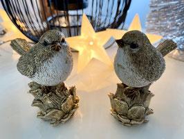 Formano Winter-Vogel gold, Deko-Weihnachten-Idee Kunststein Set. 2 Stk.