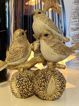 Formano Vogel Gruppe auf Kastanien gold Weihnschten-Deko-Idee-gold