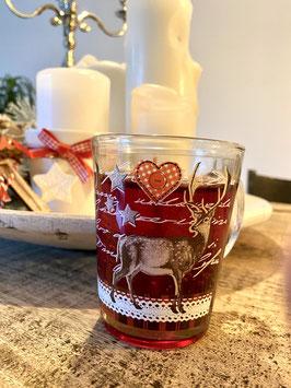 Duftkerze Kerze Weihnachten im  Glühweinbecher mit zartem Glühweinduft