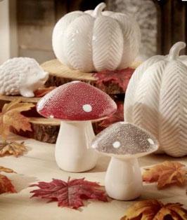 Formano Pilz Keramik in 3 Farben, Herbstblätter Streu-Deko , Kürbis Set 2 Stück