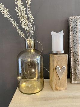 Kerzen-Halter-Leuchter Mango-Holz mit Alu-Herz
