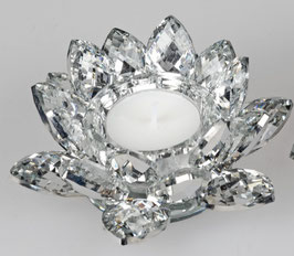 Formano Teelichthalter Kerzenhalter Kristallglas Blüte