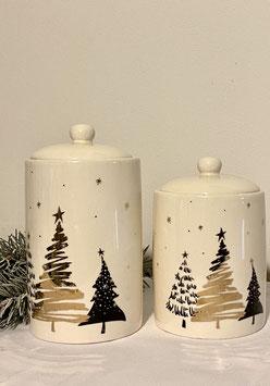 Formano Aufbewahrungs-Dose Keksdose Weihnachten creme/gold  Set. 2 Stk.