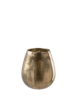 J-LINE Windlicht Glas Antik gold edel für stimmungsvolle Momente
