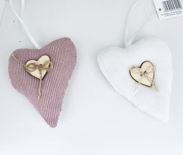 Herzen Stoff mit Holzknopf Hänger Geschenk Deko Frühling Ostern Hochzeit Muttertag