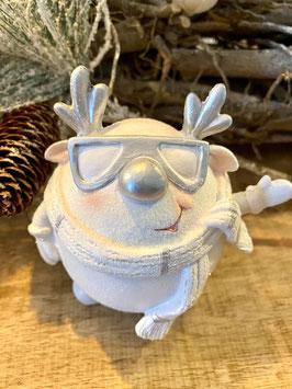 Formano Elch mit Sonnenbrille und Schal weiss/silber Weihnachten-Deko