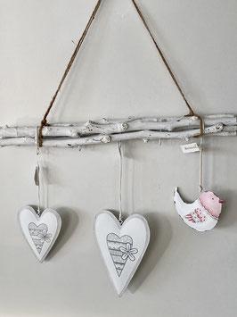 Formano Anhänger Deko Metall Herz oder Vogel 2 Größen 2er Set 21cm und 13cm